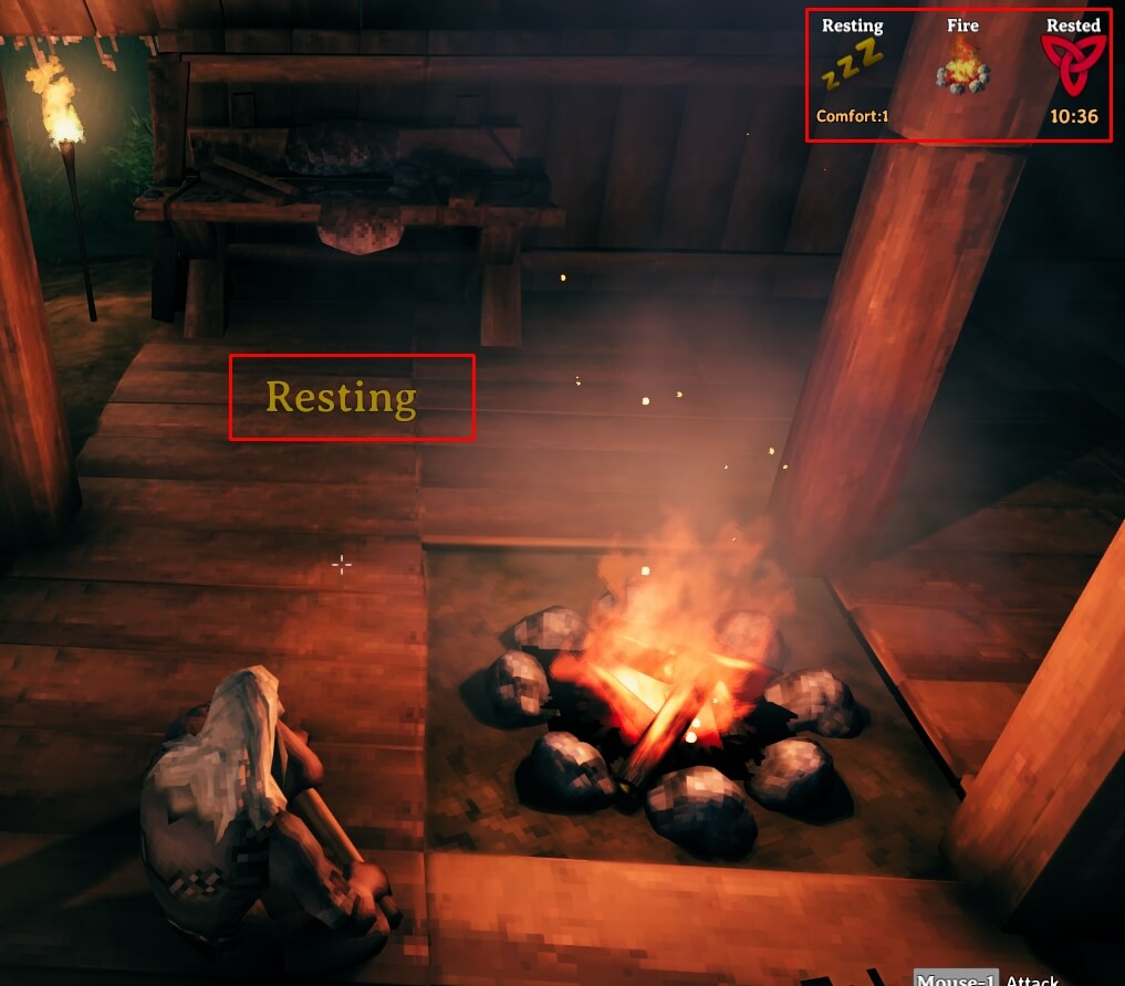 Resting by sitting down beside a fire and getting the rested buff